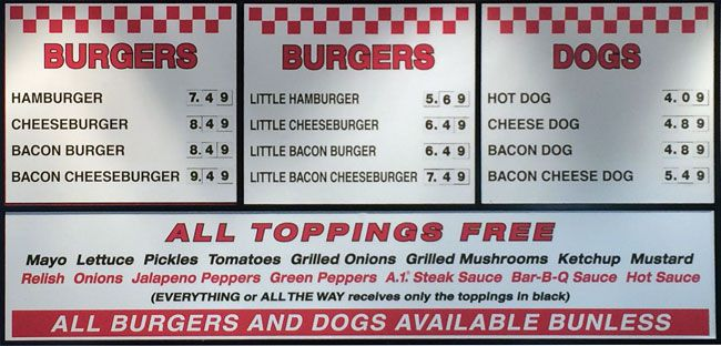 Five Guys Menu