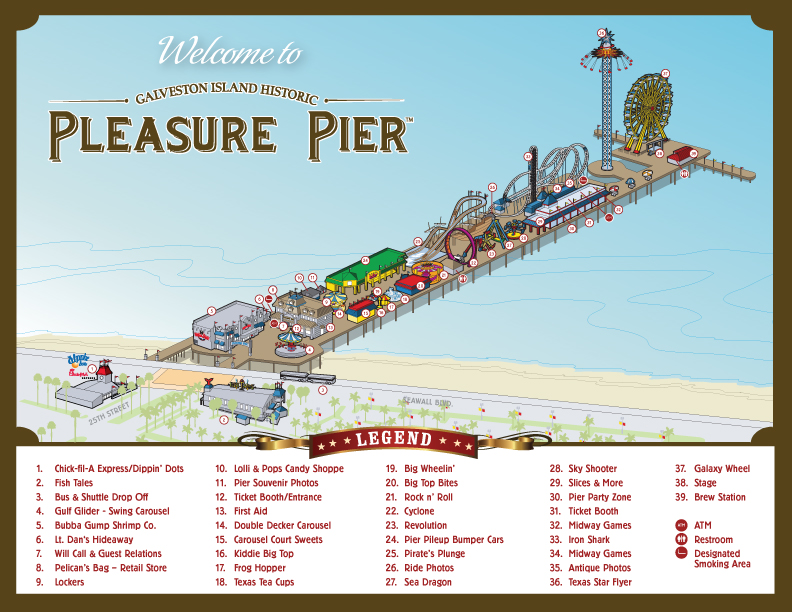 pleasure pier galveston texas map